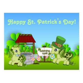 Cute Shamrock Ponies Happy St. Patrick's Day Horse Postcard