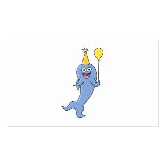 Cute Shark with Birthday Balloon. Double-Sided Standard Business Cards (Pack Of 100)