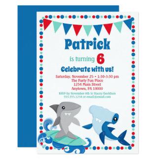 Cute Sharks Invitation Funny Birthday Party