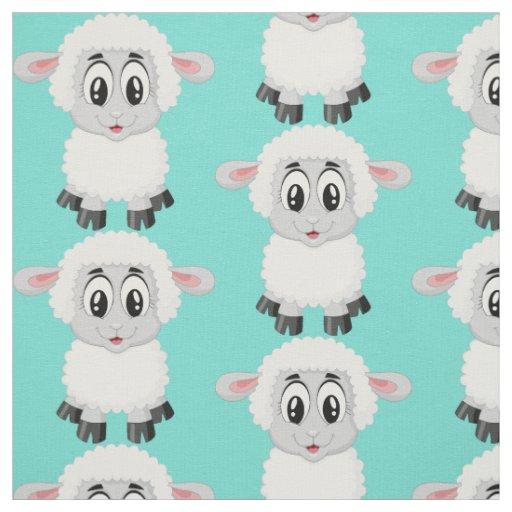Cute sheep animal baby kids nursery colourful fabric