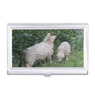 Cute Sheep Eating Leaves Business Card Holder