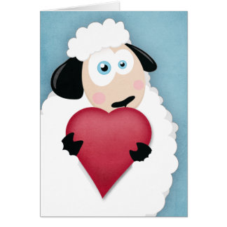 Cute Sheep Holding a Love Heart Valentine Cards