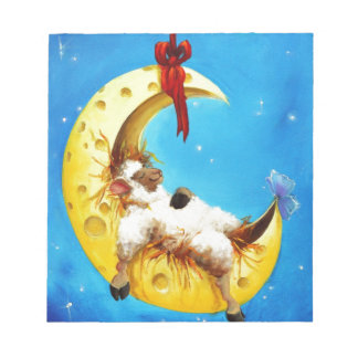 Cute Sheep in the Moon Sheep Incognito Nursery Notepad
