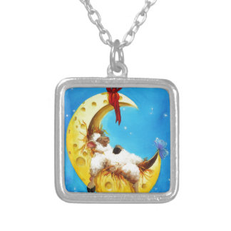Cute Sheep in the Moon Sheep Incognito Nursery Silver Plated Necklace