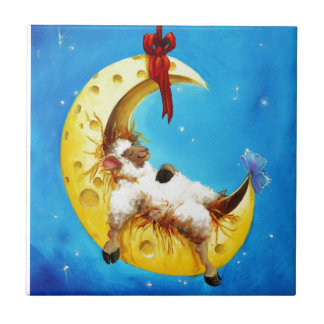 Cute Sheep in the Moon Sheep Incognito Nursery Tile