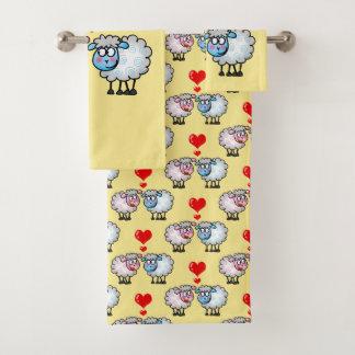 cute sheep love couple bath towel set