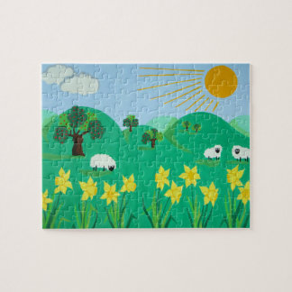 cute sheep with trees hills blue sky and sun kids jigsaw puzzle