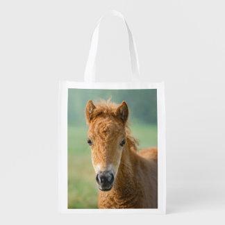 Cute Shetland Pony Foal Horse Head Photo reuseable Grocery Bag
