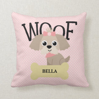 Cute Shih Tzu Puppy Dog on Pink Polka Dots Throw Pillow