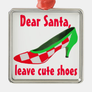 Cute Shoes Letter to Santa Clause Metal Ornament