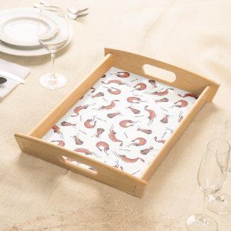 Cute shrimp seafood print serving tray