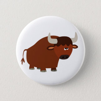 Cute Shy Cartoon Bull 2 Inch Round Button