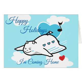 Cute Shy Devil Happy Flight Home Card