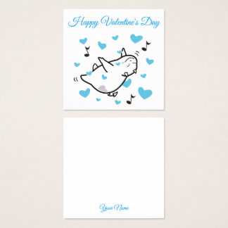 Cute Shy Devil in Happy Hearts Sky Valentine's Day Square Business Card