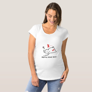 Cute Shy Devil LOVES&Flowers Maternity T-Shirt
