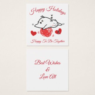 Cute Shy Devil with LOVES Square Business Card