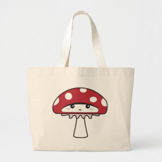 Cute Shy Kawaii Toadstool Large Tote Bag