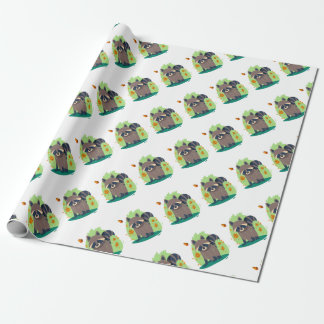 Cute Shy raccoon Wrapping Paper