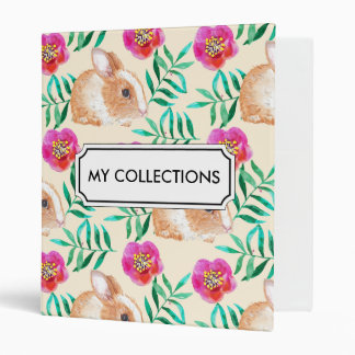 Cute shy watercolor bunny on flowers pattern 3 ring binder