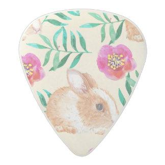 Cute shy watercolor bunny on flowers pattern acetal guitar pick