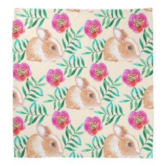 Cute shy watercolor bunny on flowers pattern bandana