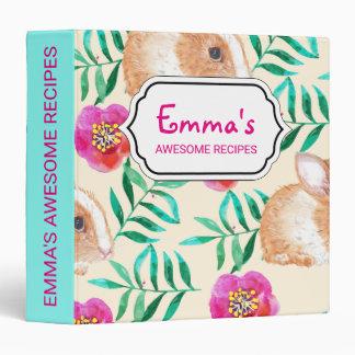 Cute shy watercolor bunny on flowers pattern binders