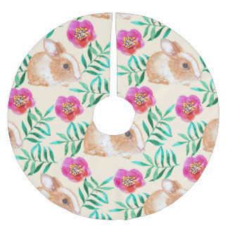 Cute shy watercolor bunny on flowers pattern brushed polyester tree skirt