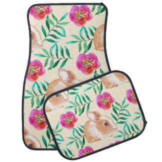 Cute shy watercolor bunny on flowers pattern car mat