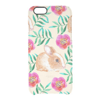 Cute shy watercolor bunny on flowers pattern clear iPhone 6/6S case