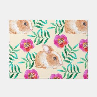 Cute shy watercolor bunny on flowers pattern doormat