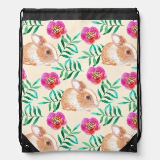 Cute shy watercolor bunny on flowers pattern drawstring bag