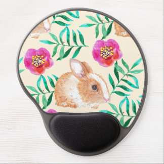 Cute shy watercolor bunny on flowers pattern gel mouse pad