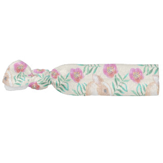 Cute shy watercolor bunny on flowers pattern hair tie