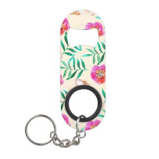 Cute shy watercolor bunny on flowers pattern keychain bottle opener