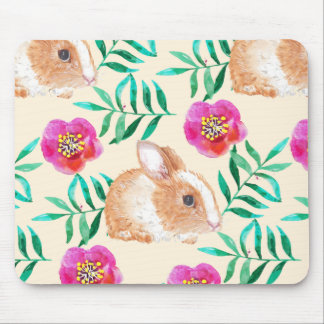 Cute shy watercolor bunny on flowers pattern mouse pad