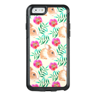 Cute shy watercolor bunny on flowers pattern OtterBox iPhone 6/6s case