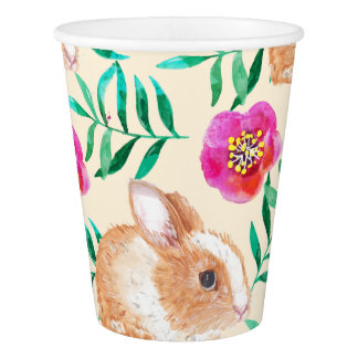 Cute shy watercolor bunny on flowers pattern paper cup