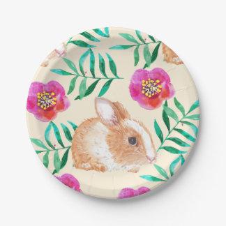 Cute shy watercolor bunny on flowers pattern paper plate