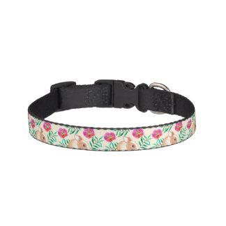 Cute shy watercolor bunny on flowers pattern pet collar