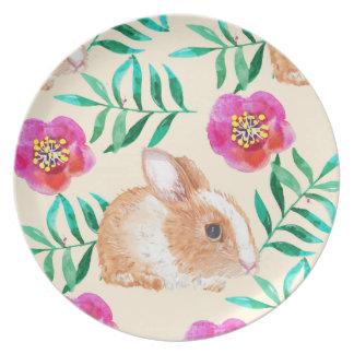Cute shy watercolor bunny on flowers pattern plate