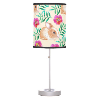Cute shy watercolor bunny on flowers pattern table lamp