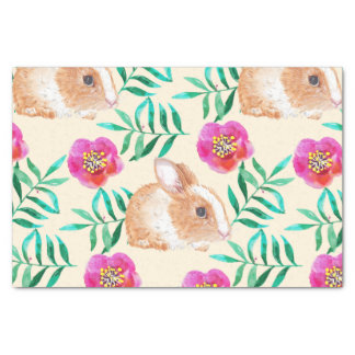 Cute shy watercolor bunny on flowers pattern tissue paper