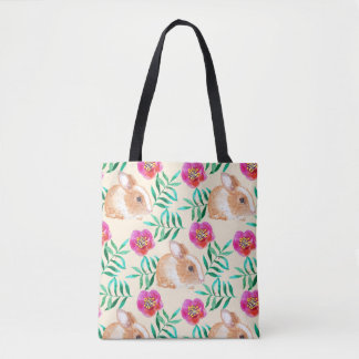 Cute shy watercolor bunny on flowers pattern tote bag