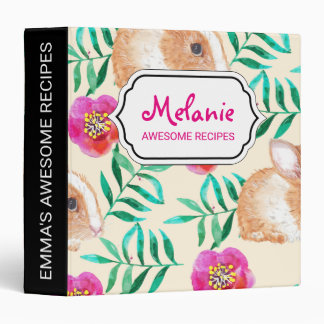 Cute shy watercolor bunny on flowers pattern vinyl binder