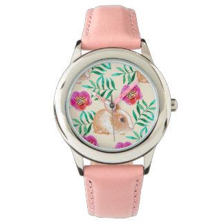 Cute shy watercolor bunny on flowers pattern watch