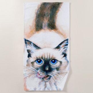 Cute Siamese Cat Beach Towel