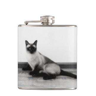 CUTE Siamese Cat Portrait Photograph Flask
