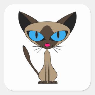Cute Siamese Cat Square Square Sticker