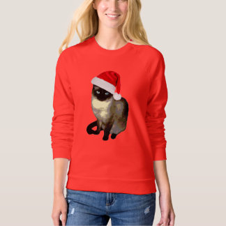 Cute Siamese cat ugly christmas sweater for women