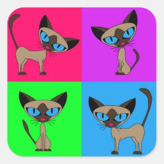 Cute Siamese Cats - Four Attitudes Square Sticker